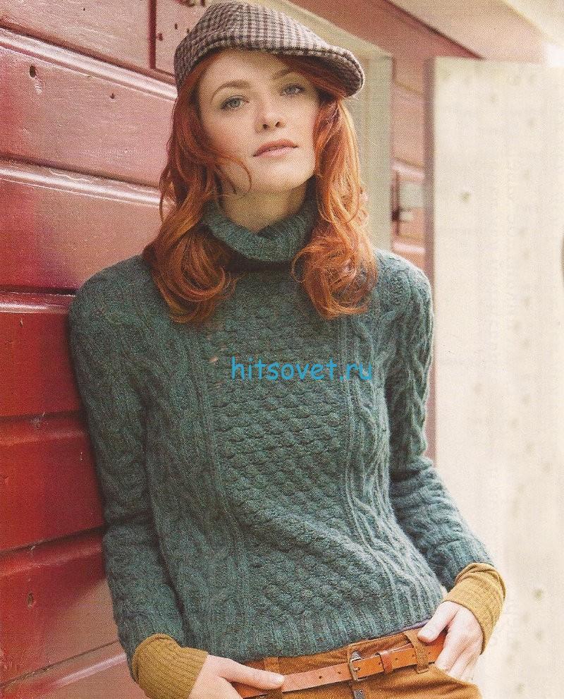 Вязание свитера с розочками, фото.