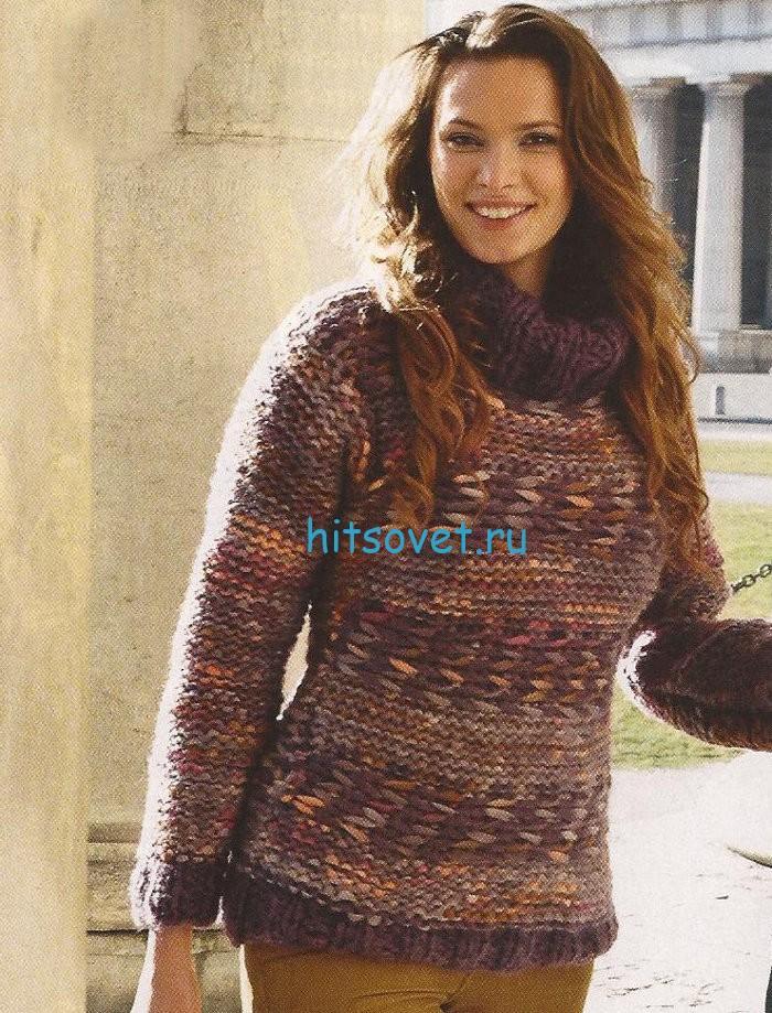 Модный вязаный свитер с жаккардом, фото.