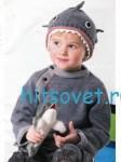 Вязание для мальчика пуловера и шапки «Акула»