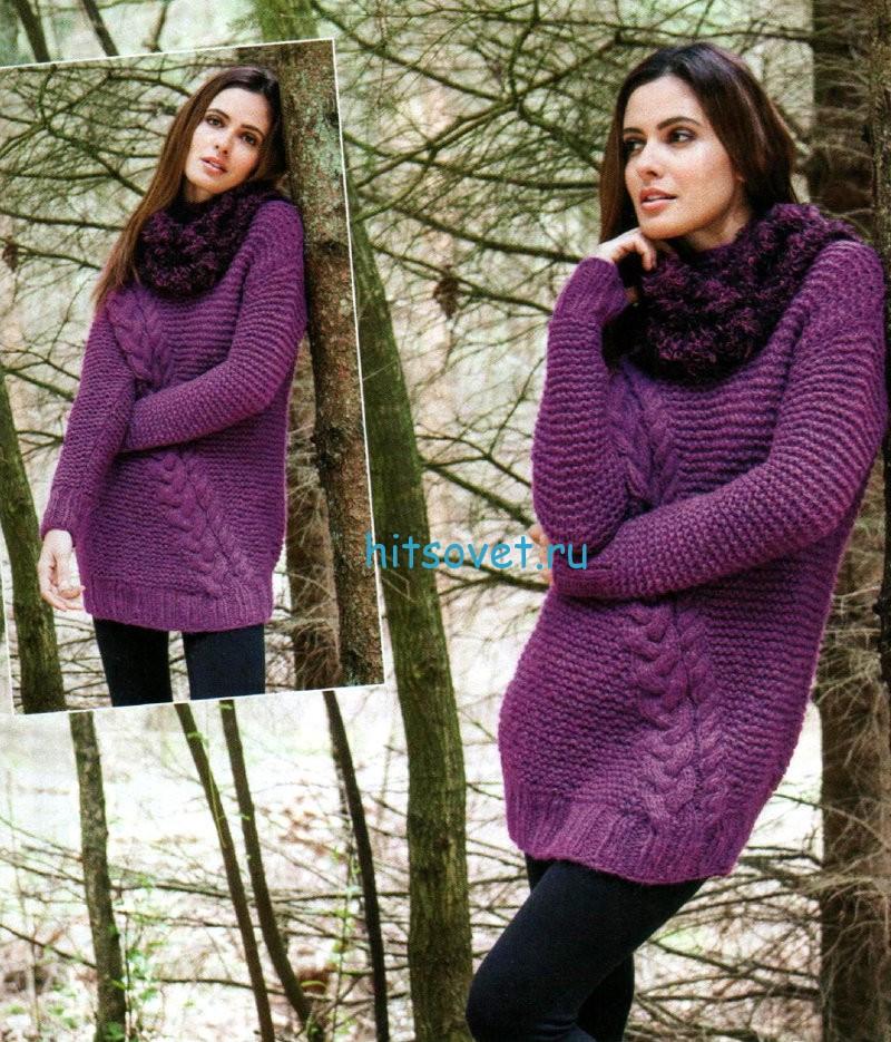 Вязание пуловера и снуда