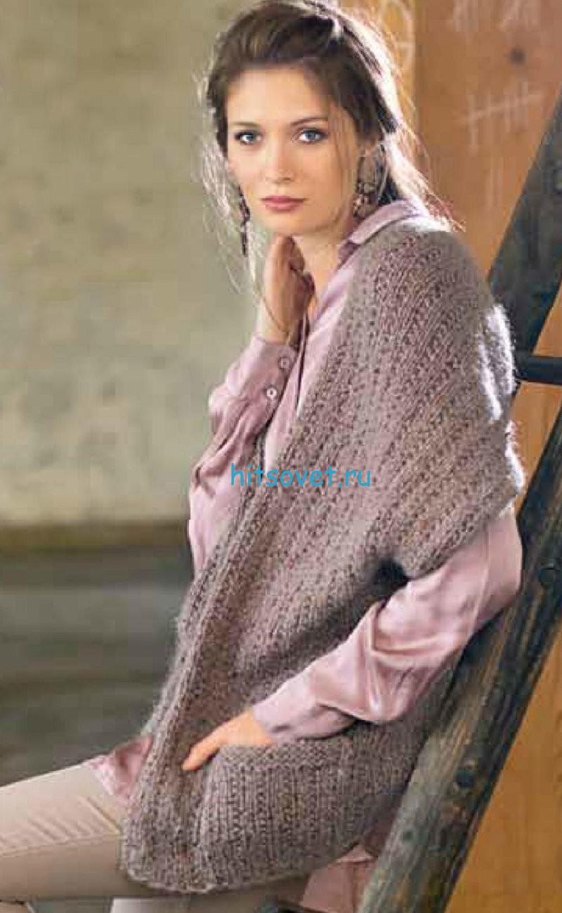Вязание накидки платочной вязкой
