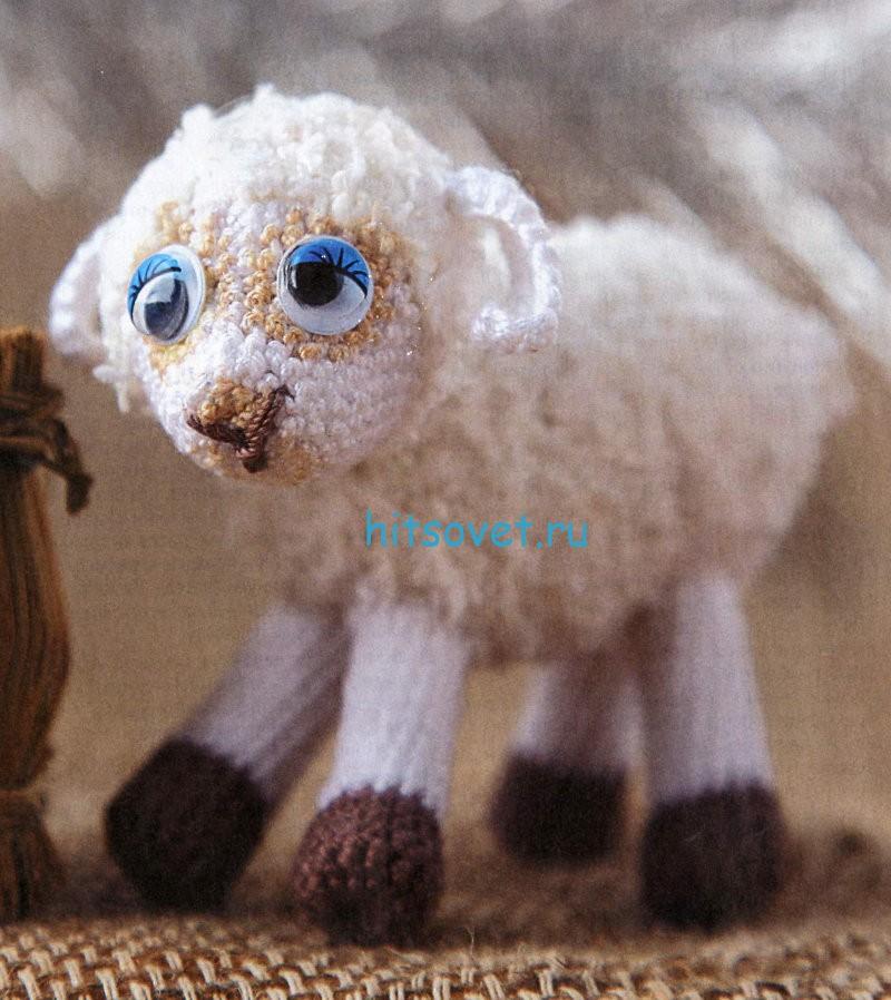 Игрушка овечка крючком мк