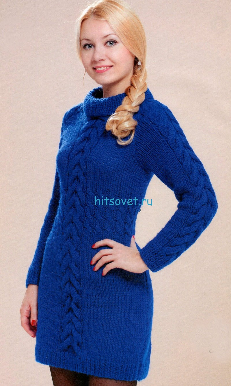 Вязаное платье с косами схема
