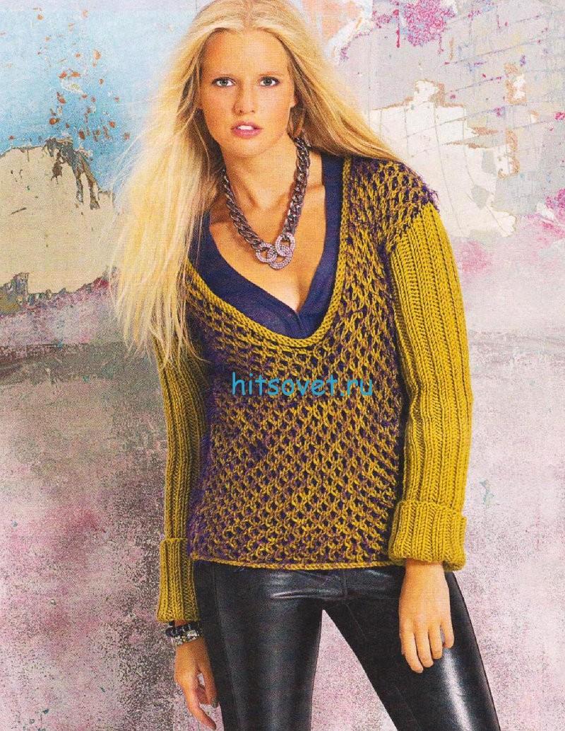 Вязание пуловера с двухцветным узором из сот