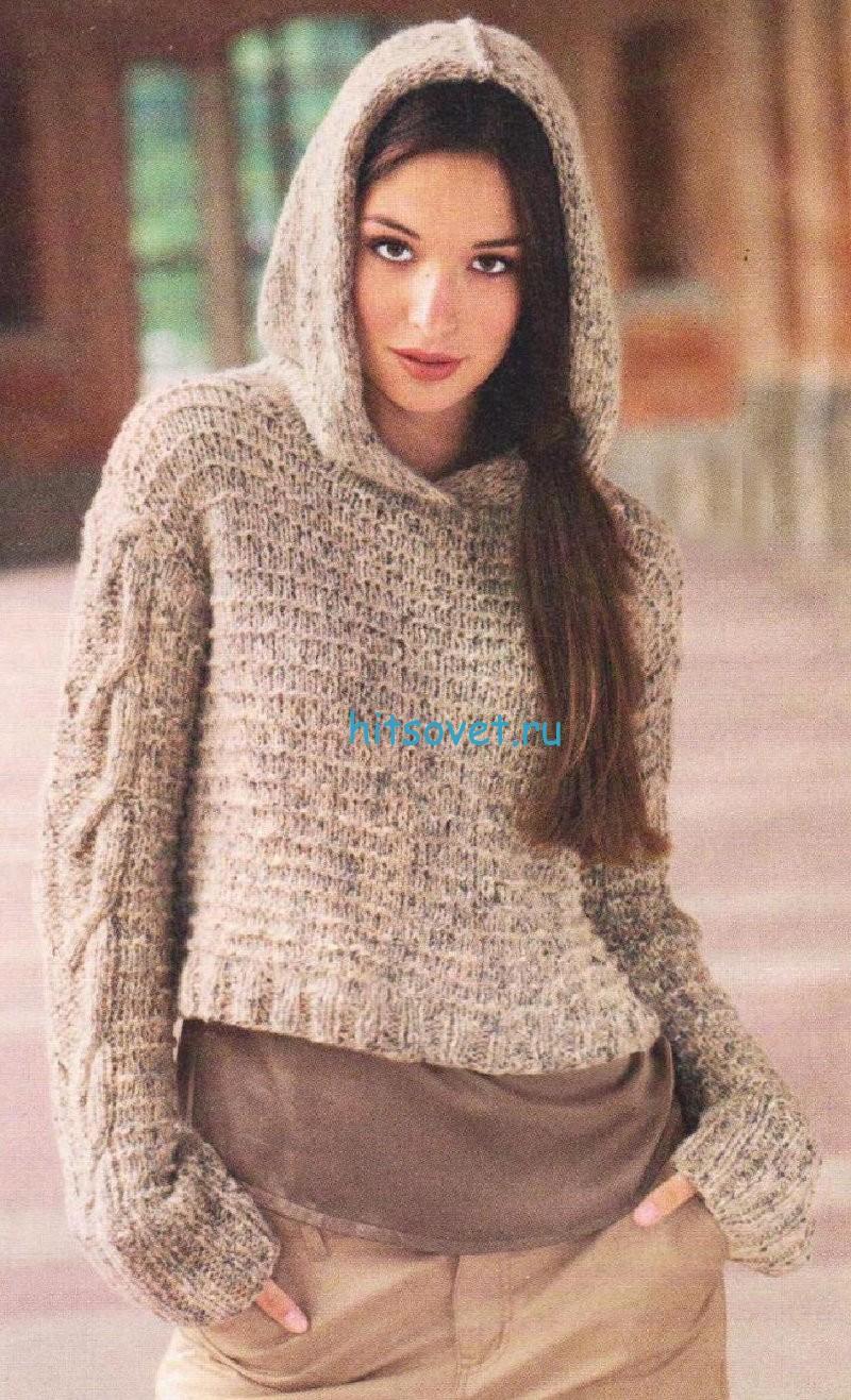 Вязание пуловера с косами и капюшоном