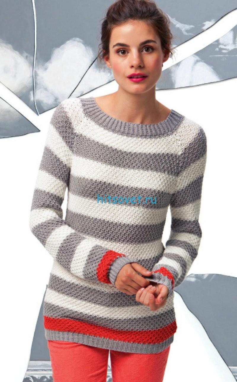 Модный полосатый пуловер спицами