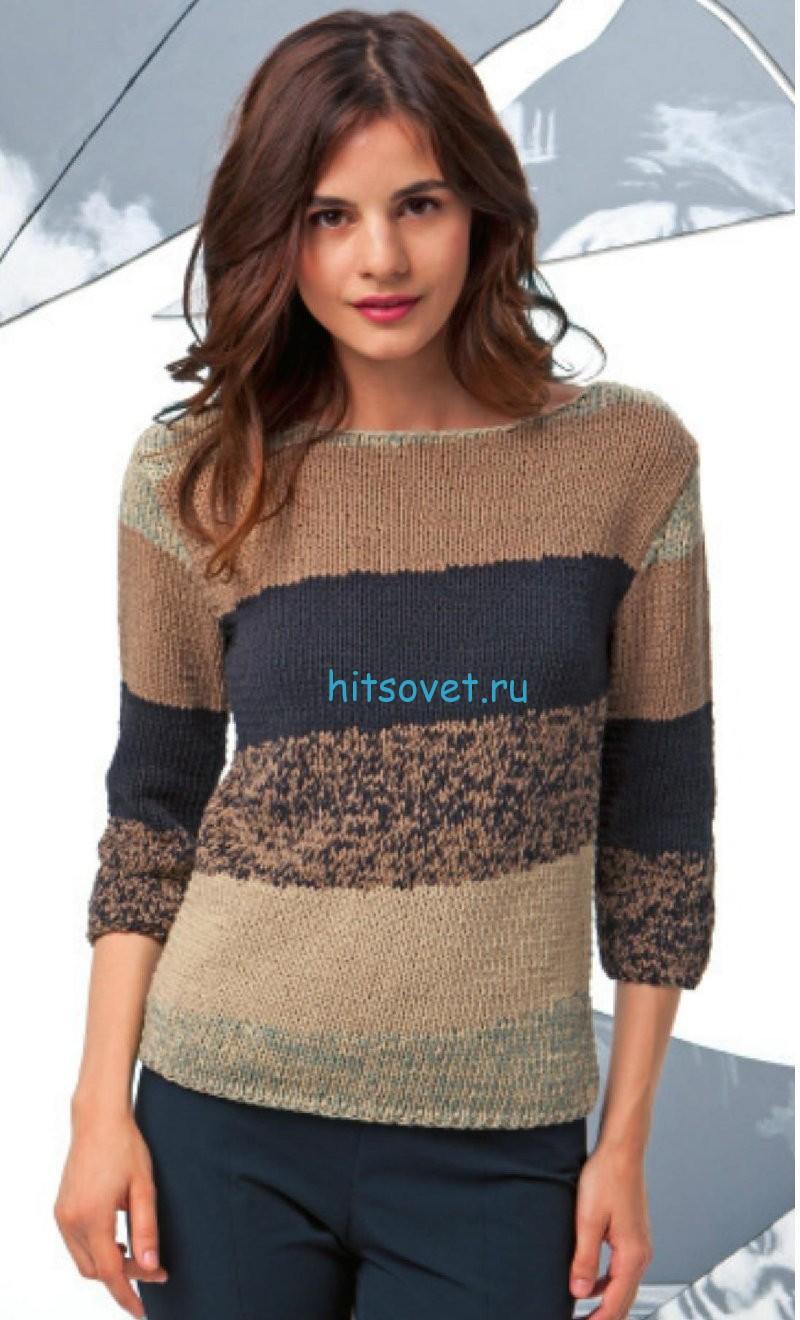 Женский модный пуловер спицами