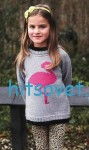 Вязание для девочки пуловера с фламинго
