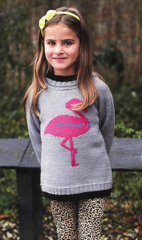 Пуловер с фламинго