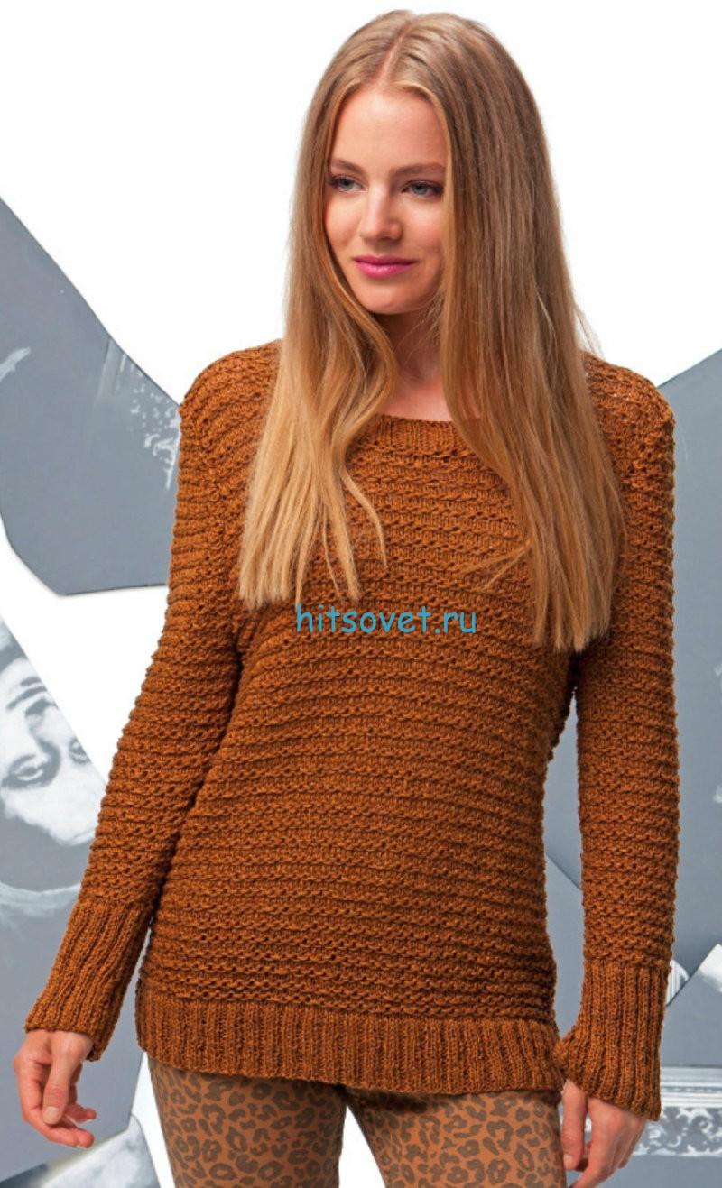 Вязание модного женского пуловера спицами