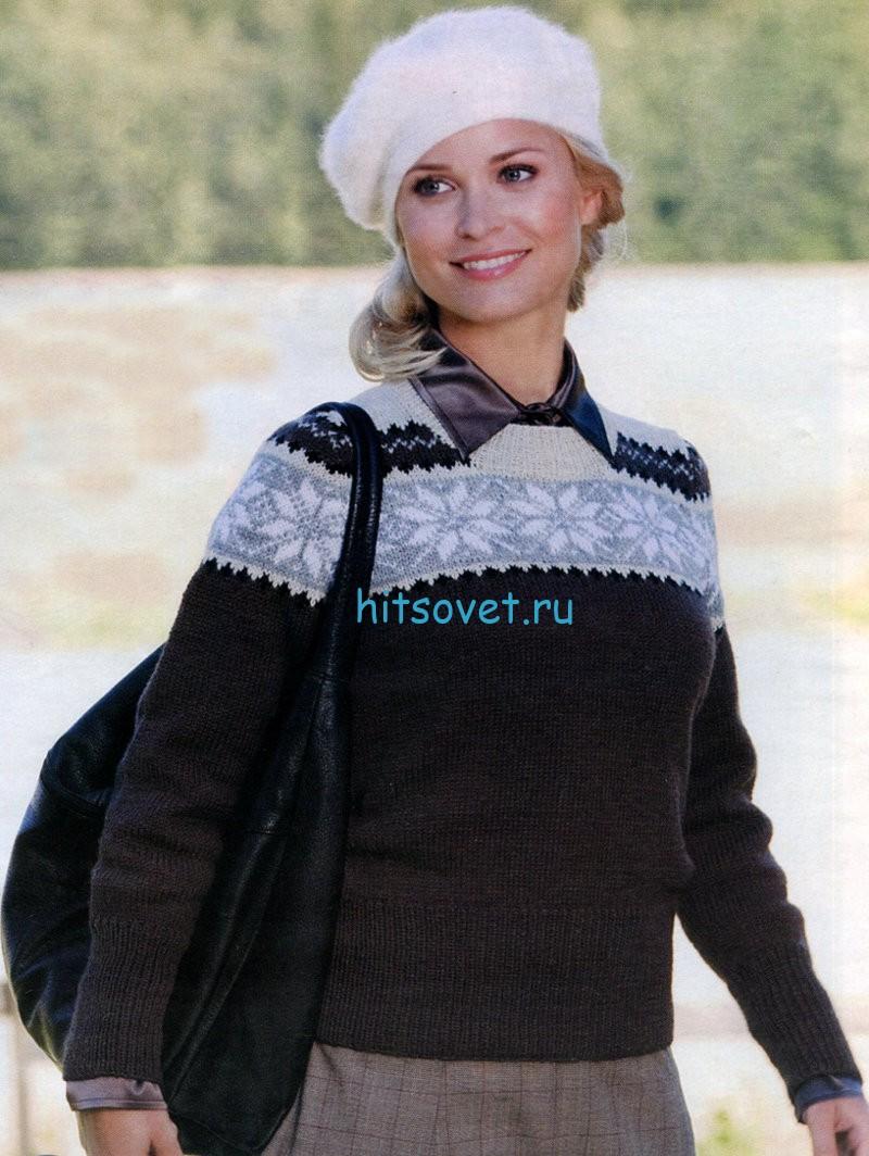Женский пуловер с орнаментом