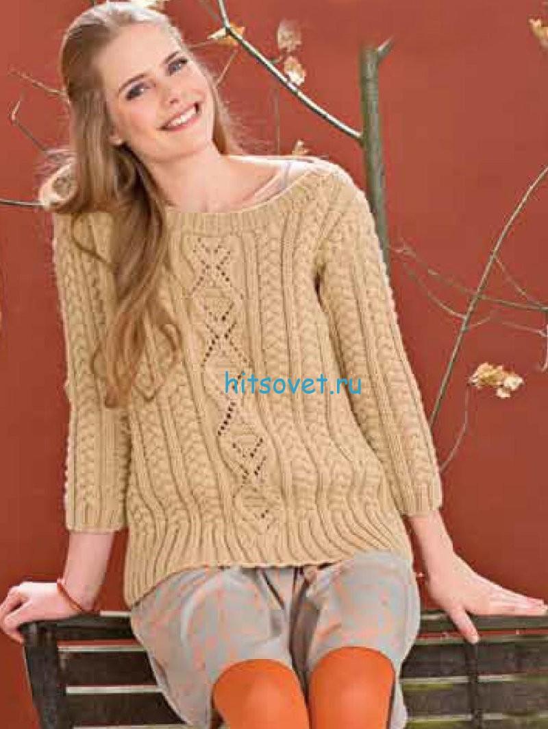 Узорчатый пуловер с косами