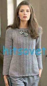 Вязаный пуловер реглан из пряжи Silkmerino