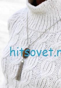 Белый пуловер с узором из кос, фото 2.