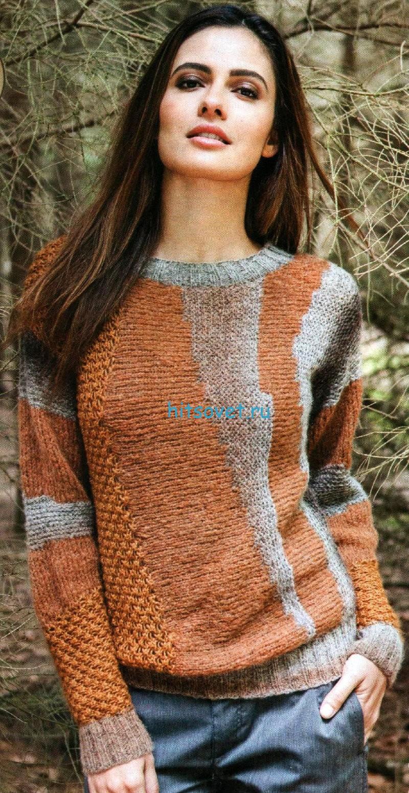 Вязание пуловера поперек