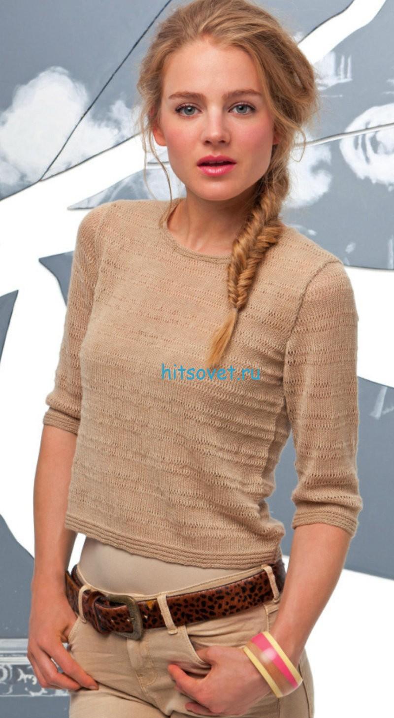 Короткий пуловер для девушки