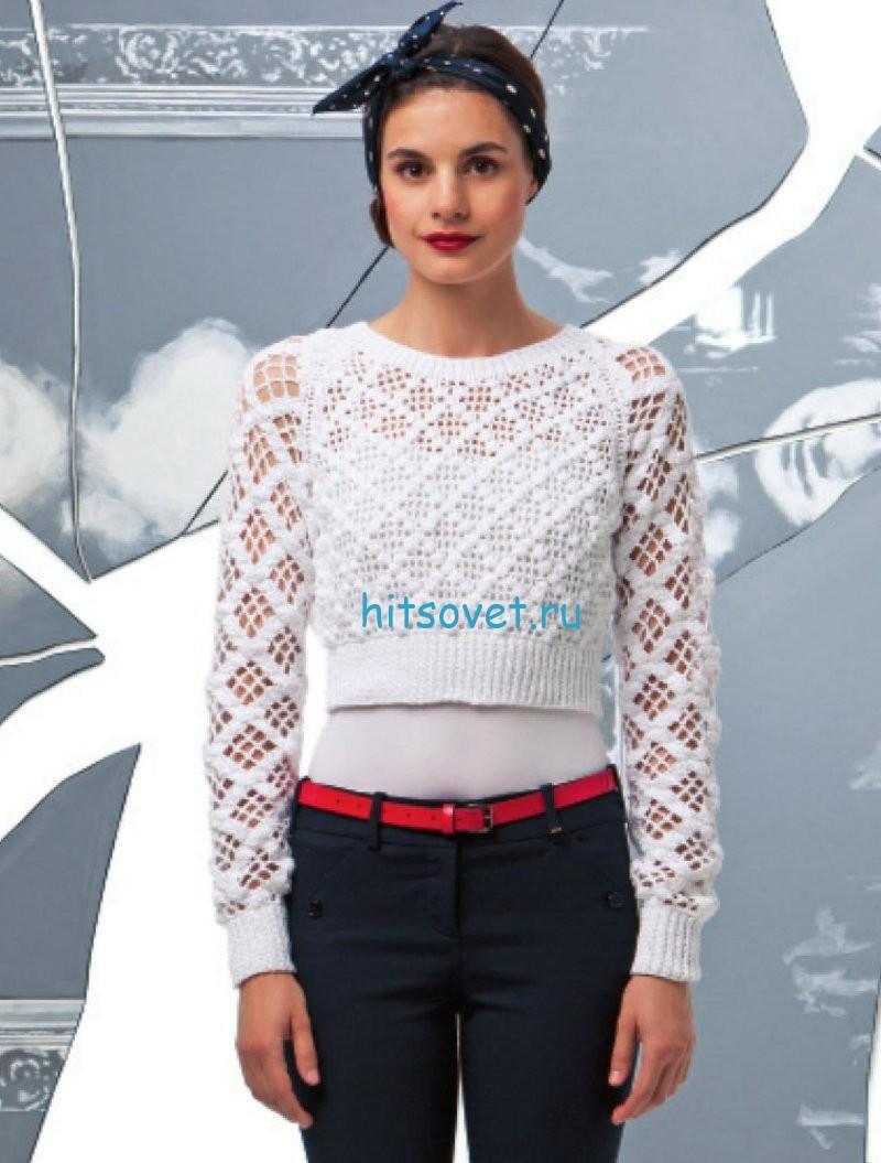 Белый укороченный пуловер