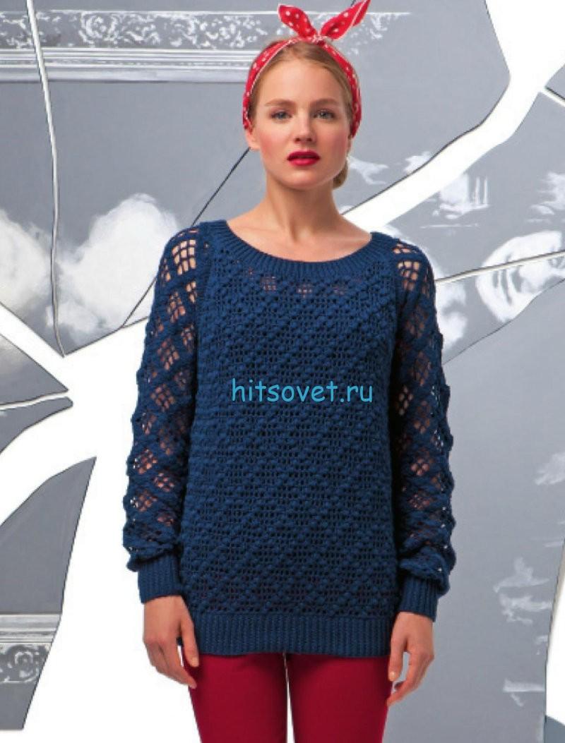 Женский вязаный пуловер с красивым узором