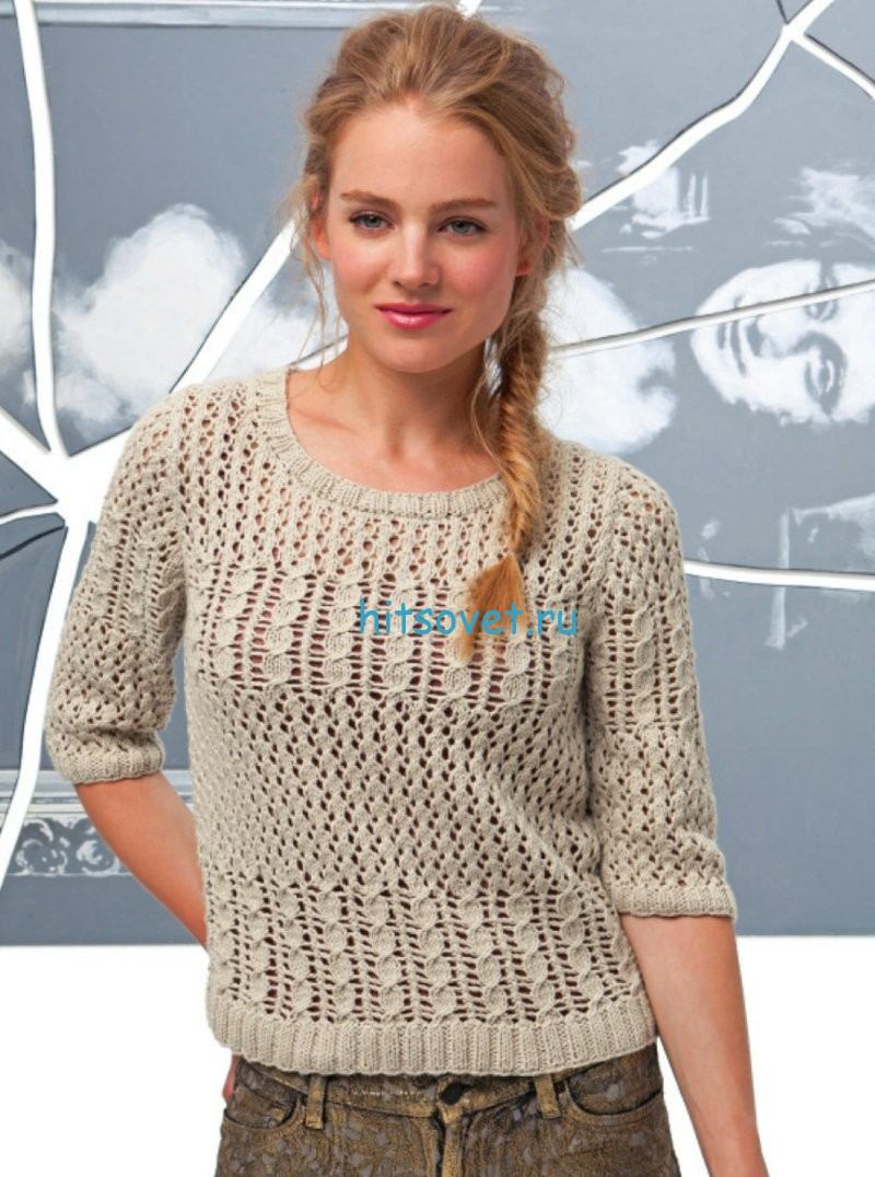 Летний женский пуловер с узорами