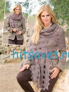 Вязание шали серого цвета