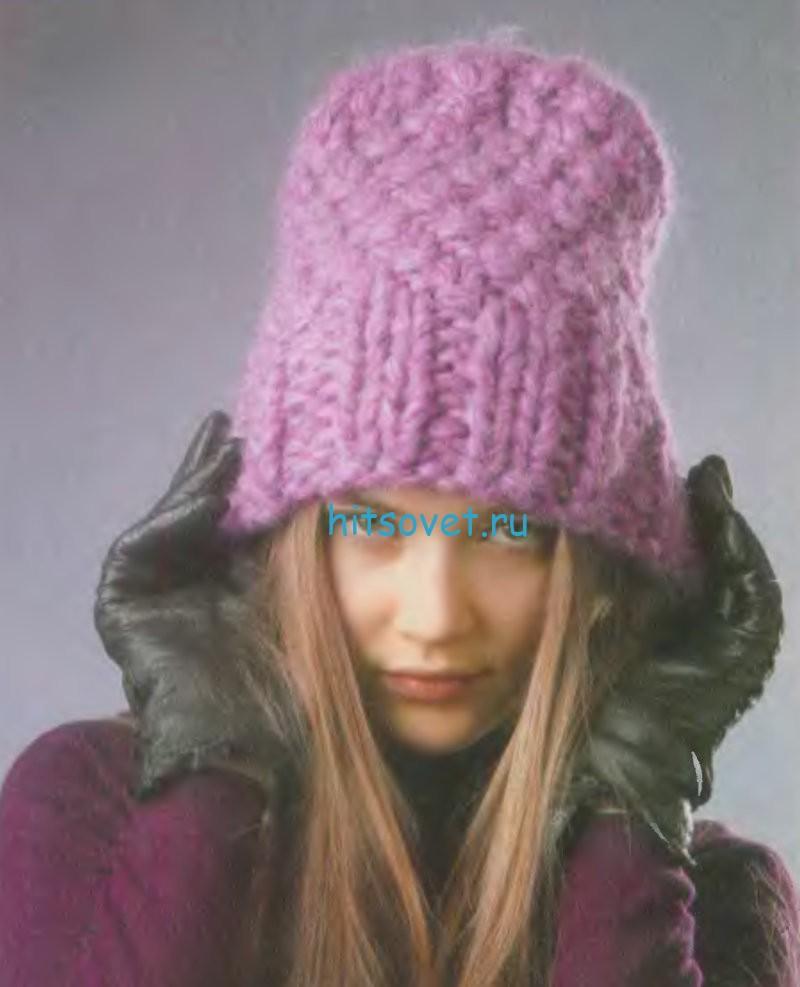 Вязание шапки с широкой резинкой, фото 1.
