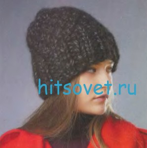 Вязание шапки с широкой резинкой, фото 2.