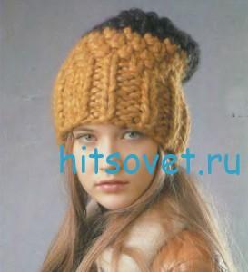 Вязание шапки с широкой резинкой, фото 3.