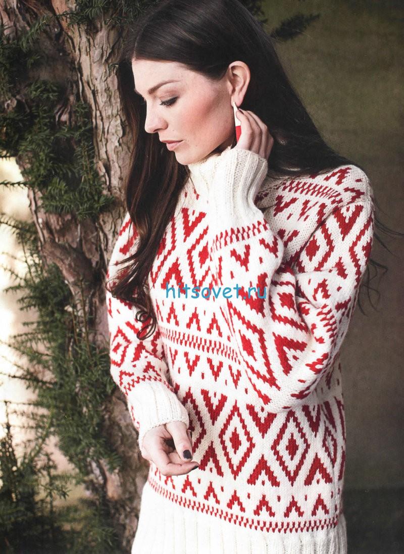 Жаккардовый свитер, фото.