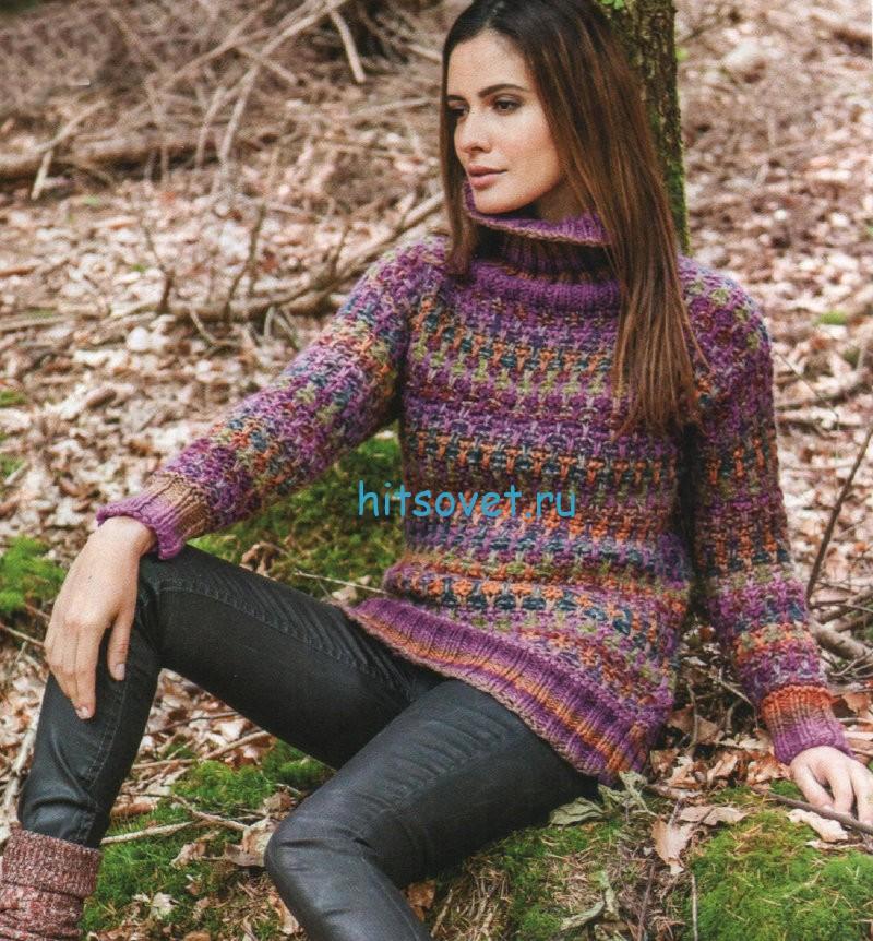 Женский вязаный свитер со схемой, фото.