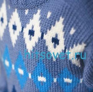 Вязание для мальчика свитера с ромбами, фото 2.