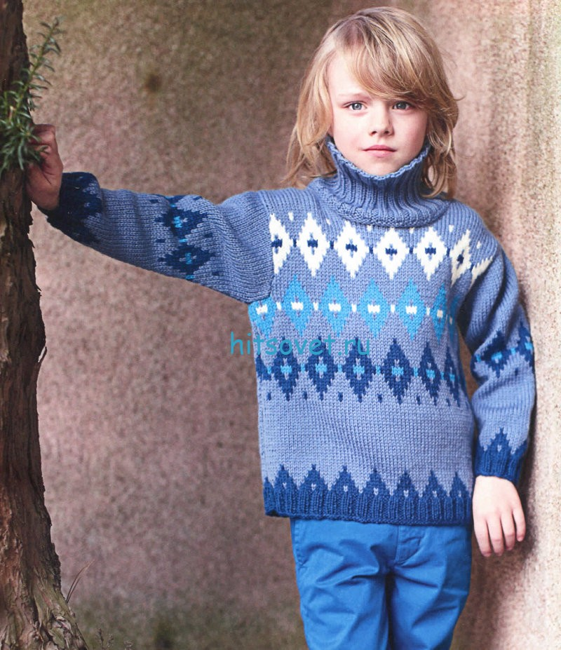 Вязание для мальчика свитера с ромбами, фото.