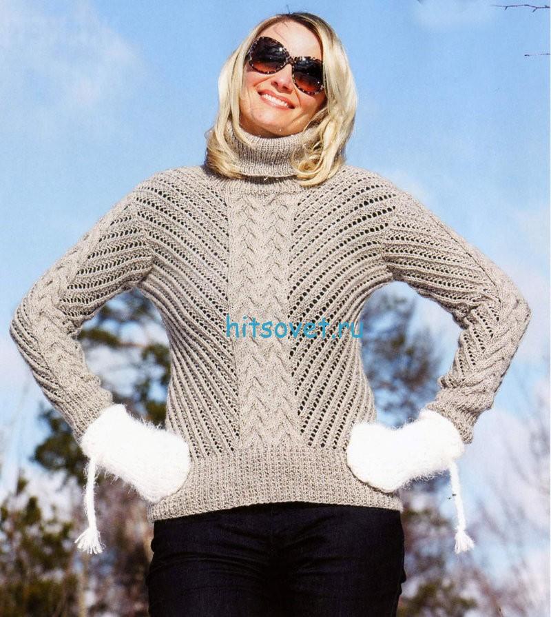 Модный женский свитер спицами со схемой, фото.