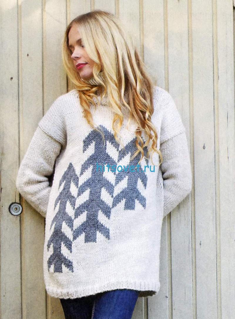 Вязаный свитер с елочками, фото.