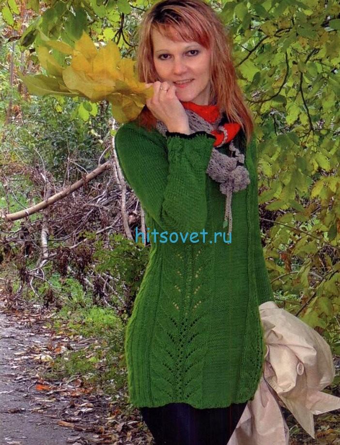 Вязание туники с красивым ажуром, фото.