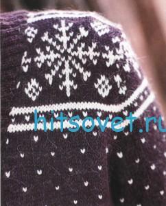 Вязаный жакет со снежинками, фото 2.