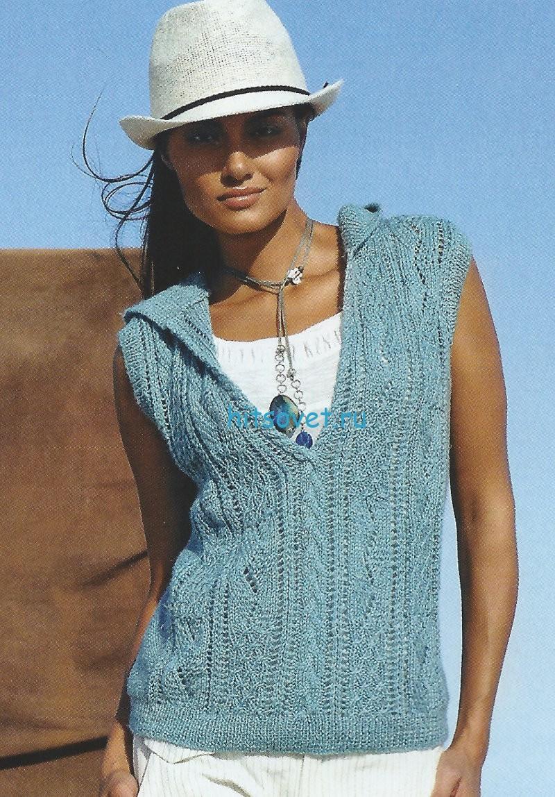 Вязание безрукавки с капюшоном