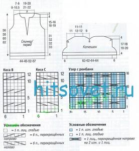 Вязание безрукавки с капюшоном, схема 2.