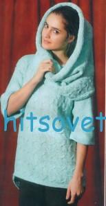 Вязаный пуловер и снуд спицами