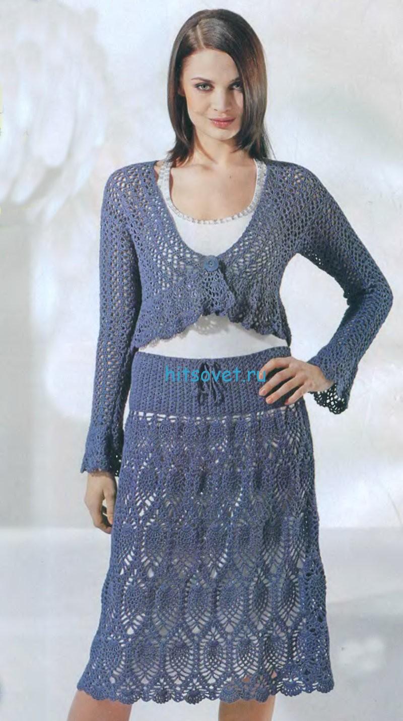 Вязаное болеро и юбка крючком
