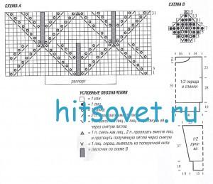 Вязание джемпера с листочками и снуд, схема.