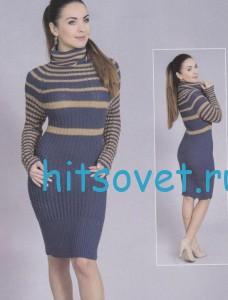Вязания платья в полоску, фото.
