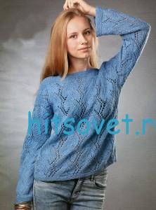 Женский голубой пуловер спицами