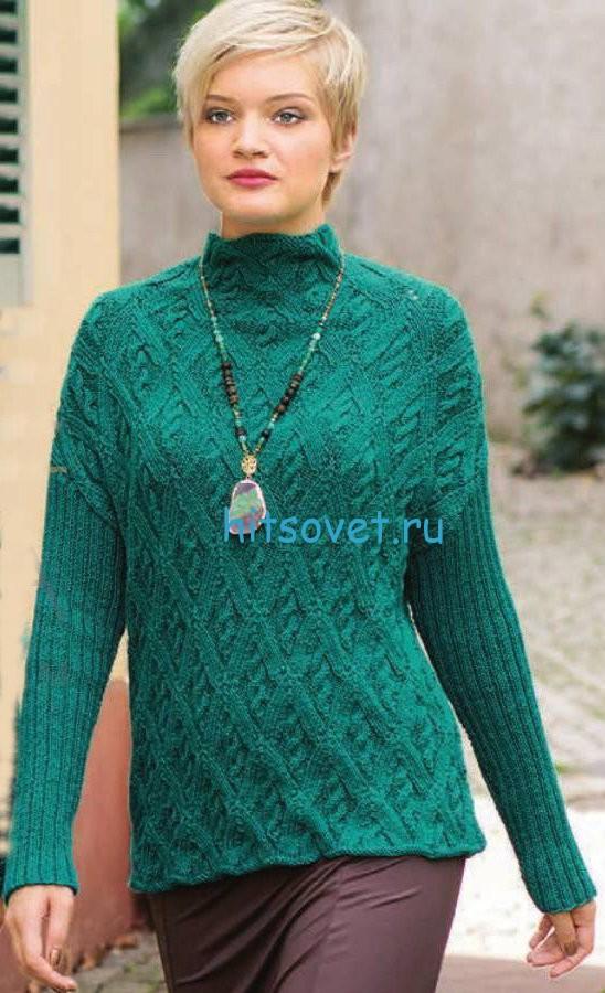 Вязание пуловера с  ромбами и косами