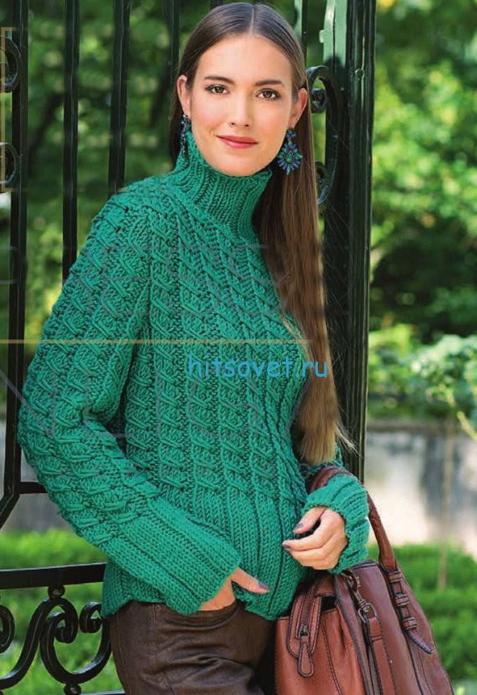 Вязание женского свитера с косами