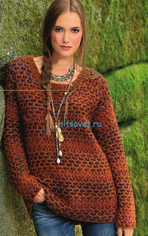 Вязание пуловера крючком филейным узором