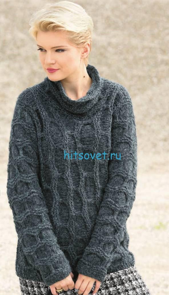Вязание пуловера поперек узором из сот
