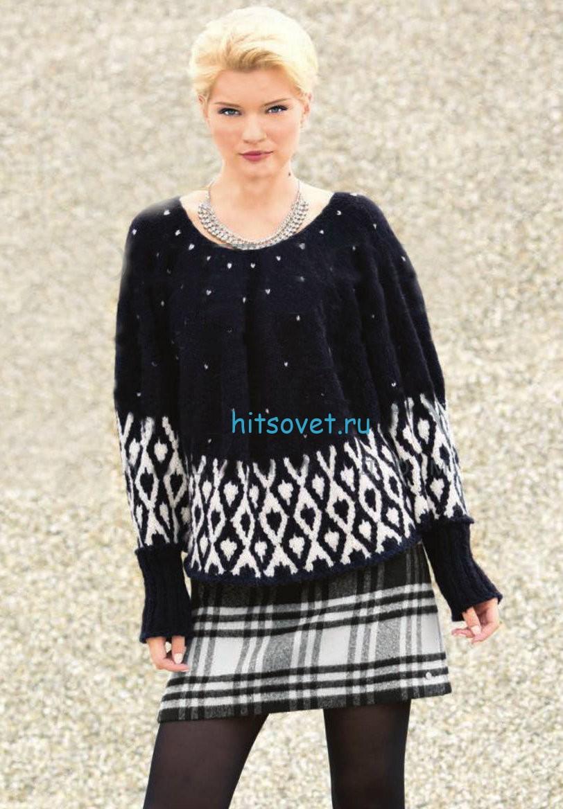 Вязание двухцветного пуловера-пончо