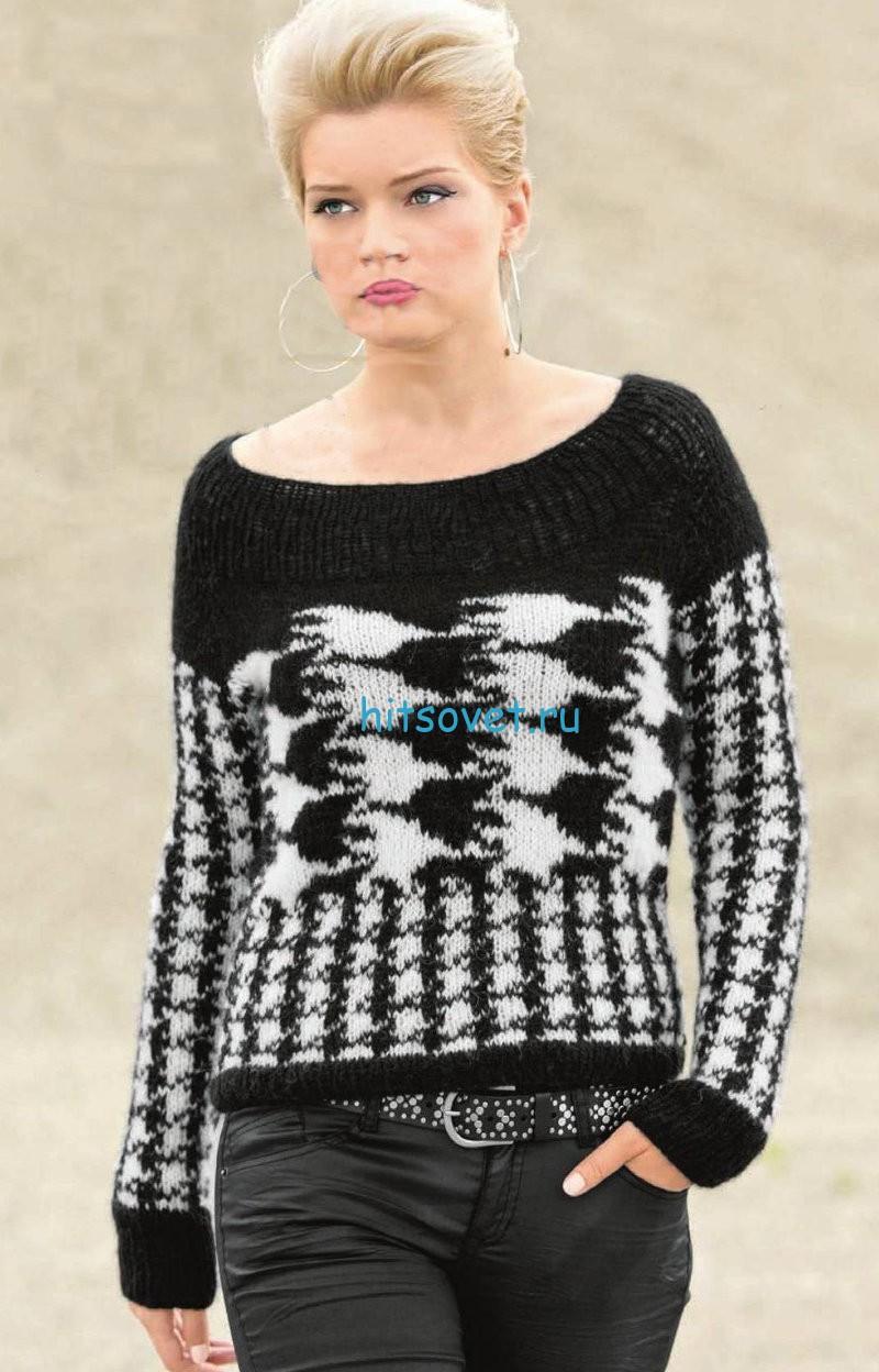 Вязание пуловера с узором куриная лапка