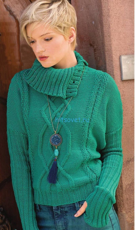 Вязание пуловера со спущенными плечами