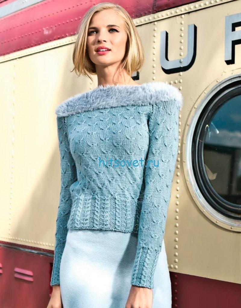 Вязание пуловера с узором птички